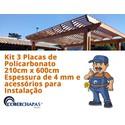 Kit 3 Chapas de Policarbonato Alveolar 2,10x6,00 4 Milímetros e Acessórios para Instalação