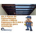 Kit 5 Chapas de Policarbonato Alveolar 1,05 x 6,00 x 6 mm e acessórios para Instalação