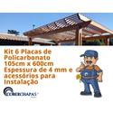 Kit Personalizado de 6 Chapas de Policarbonato 1,05x3x4 mm e acessórios para Instalação
