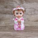 Anjinho com asa iluminada 12 cm -Rosa