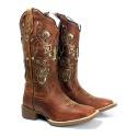 Bota Texana Feminina Mangalarga em Couro Legítimo Bico Quadrado Laser Conhaque Palmilha Antibacteriana
