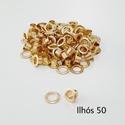 Ilhós com arruela n° 50 - Dourado (pacte 50 unidades de cada)