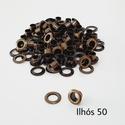 Ilhós com arruela n° 50 - Ouro Velho (pacte 50 unidades de cada)