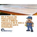 Kit 4 Placas De Policarbonato 1,05x6x 6mm + Acessórios Para Instalação