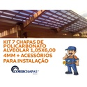 Kit Personalizado Com 6 Placas De Policarbonato 105 x 600 x 4 Mm e Acessórios Para Instalação