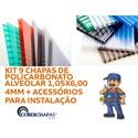 Kit 9 Placas de Policarbonato para Cobertura 105 x 600 x 4 mm e acessórios para Instalação