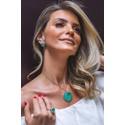 Colar Coraçao Pedra Esmeralda Colombiana Todo Cravejado com Zirconia Baguete