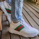 Tênis Chunky Sneaker Masculino Tracker Em Couro Branco Polish Verde