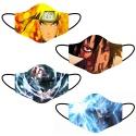 Kit 4 Máscara Lavável Personalizada Naruto Tecido Duplo