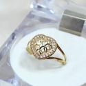 Anel em Ouro 18k 750 Coração Bojudo Vazado com Pedras