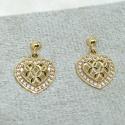 Brinco em Ouro 18k 750 Bolinha com Pingente Coração Trabalhado com Pedras