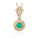 Pingente em Ouro Amarelo 18k com Diamantes e Esmeralda