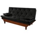 Estofado Sofa Cama Caribe Essencial 3 Lugares Sued Preto
