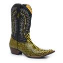 Bota Texana Bico Fino Country Masculina Anaconda Preto e Amarelo e Mustang Preto
