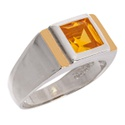 Anel Formatura Zircônia Amarela Prata 925 Com Fio De Ouro