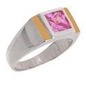 Anel Formatura Zircônia Rosa Prata 925 Com Fio De Ouro