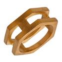 Anel Hexagonal Aço Inox Dourado