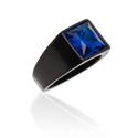 Anel Preto da Pedra Azul 11x11mm Aço Inox