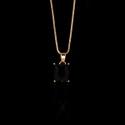 Colar Zircônia Preta 11X9mm Semijoia Ouro