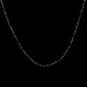 Colar Pedra Natural Espinélio Negro 2mm Com Fecho & Extensor Prata 925