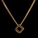 Colar Geométrico Cubo Tridimensional Aço Inox Dourado
