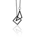 Colar Geométrico Triângulo Isóceles & Quadrado Aço Inox Preto
