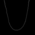 Colar Pedra Ônix Negra Esfera 2mm Prata 925