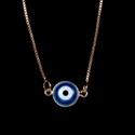 Escapulário Olho Grego Emoldurado Azul Turquesa Ouro