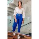 Calça Cloe Alfaitaria Com Cinto Azul Bic