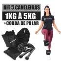 Kit Caneleira de Peso 1kg a 5kg Academia + Corda de Pular