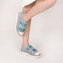Tênis Flatform Kiara Velcro Vinil Reinvent Yourself Prata Salto 5,5 cm
