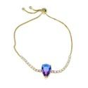 Pulseira Gota Rainbow Semijoia Banho de Ouro 18k Cristal Lilás e Zircônia Branca Duo com fecho ajustável