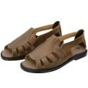 Sandália de Couro Caramelo com Elástico Linha Conforto - Selten