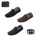Sapato Masculino Mocassim Kit 3 Pares Com Cinto e Carteira