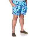 Short Masculino Plus Size Tactel Azul Floral Selten