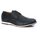 Sapato Derby Premium em Couro Confort Tchwm Shoes Azul Marinho