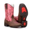 Bota Texana Infantil Cano Floral em Couro 25 ao 32