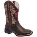 Bota Texana Feminina em Couro Flor Pink Bico Quadrado TexasKing