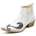 Botina Bota Country Bico Fino Top Franca Shoes Verniz Branco