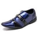 Sapato Social Masculino Top Franca Shoes Verniz Preto / Azul