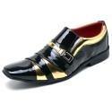 Sapato Social Masculino Top Franca Shoes Verniz Preto / Dourado