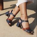 Sandália Salto Grosso Azul Marinho e Ferrugem - Gratitude - 771-29