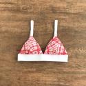Top Biquíni Praieira Tie Dye Vermelho com Branco