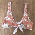 Top Biquíni Plus Size Cropped De Amarrar Floral Areia