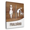 Placa De Sinalização | Fraldário - MDF 18x14cm