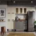 Cozinha de Aço Completa Origens 4 Peças 13 Portas 3 Gavetas Areia/Grafite - Cozinhas Bertolini
