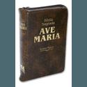 Bíblia Ave Maria com zíper marrom- Letra Maior