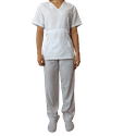Conjunto Cirúrgico Feminino em Microfibra Manga Curta Branco