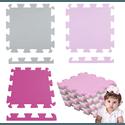 Kit 6 Placas Tatame Eva 50x50x1cm Menina Infantil Rosa e Cinza