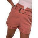 Shorts Mari de Alfaiataria Cintura Alta C/ Bolso Faca e Cinto De Fivela Rose